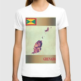 Grenada Map with Flag T-shirt