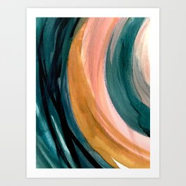 Breathe: a vibrant bold abstract piece in greens, ochre, and pink Art Print