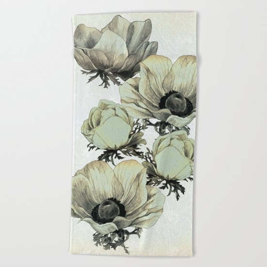 anemone flowers (white background) Beach Towel