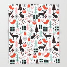 Christmas ornaments minimal holly reindeer candy cane christmas tree pattern print Throw Blanket