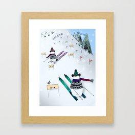 Pandas gone skiing Framed Art Print
