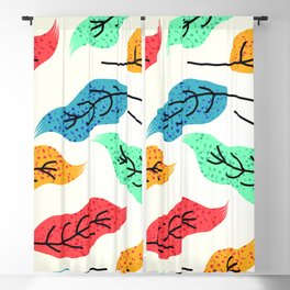 Colorful Autumn Leaves Illustration Blackout Curtain