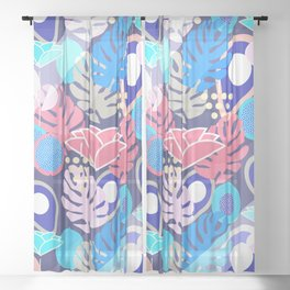 Tropical in blue light Sheer Curtain