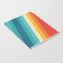 Colorful Retro Stripes  - 70s, 80s Abstract Design Notebook
