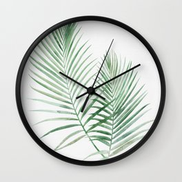 Twin Tropical Palm Fronds - Emerald Green Wall Clock