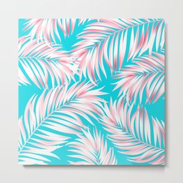 Palm Tree Fronds Hot Pink on Turquoise Hawaii Tropical Décor Metal Print