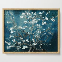 Van Gogh Almond Blossoms : Dark Teal Serving Tray