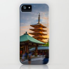 Hondo and pagoda at sunset in Senso-ji temple, Tokyo, Japan iPhone Case