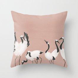 Crane Dance - Mauve Pink Throw Pillow