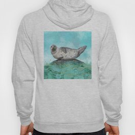 Cute Alaskan Iliamna Seal in Banana Pose Hoody