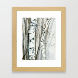 Winter Birch Trees Woodland Watercolor Original Art Print Framed Art Print