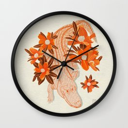 Alligator and Camellias Wall Clock