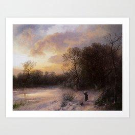 Hermann Ottomar Herzog - Daybreak on a Snowy Morning Art Print