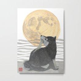 SHIBA INU, MOON, DOG Metal Print