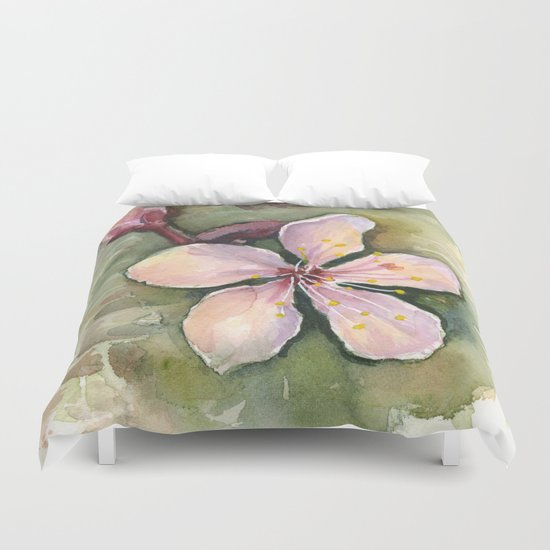 Cherry Blossom Watercolor Painting | Spring Flowers Duvet Cover