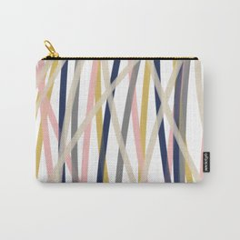 Ribbon Abstract in Mustard Yellow, Blush Pink, Navy Blue, Grey, Almond, and White Minimalist Modern Pattern Carry-All Pouch
