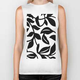 LEAF AND VINE SWIRL IN BLACK AND WHITE PATTERN Biker Tank