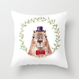 Sir Capybara Throw Pillow