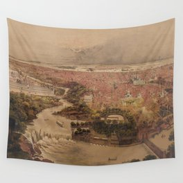 Vintage Pictorial Map of Philadelphia PA (1875) Wall Tapestry