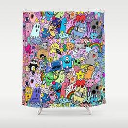 Doodle Monsters Comic Rainbow Shower Curtain