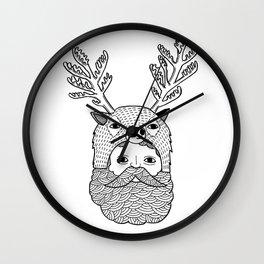 Portrait of Northern Deer Man Wall Clock