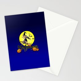 Halloween, witch on a broom, bats and pumpkins Stationery Cards