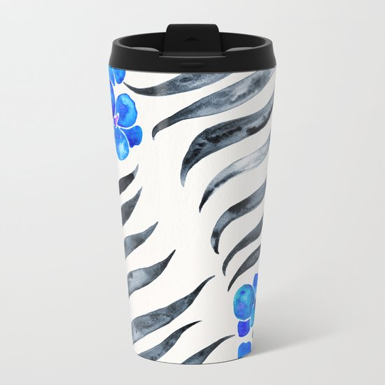 Blooming Orchid – Blue & Black Palette Metal Travel Mug