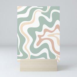 Liquid Swirl Abstract Pattern in Celadon Sage Mini Art Print