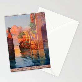 retro The Lovely Lake of Como Stationery Cards