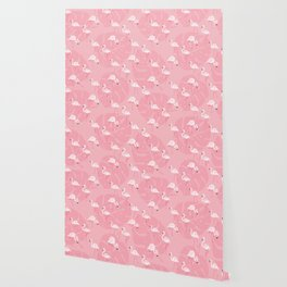 Pink flamingos and tropical leaves hand drawn on pink background illustration pattern. Hawaiian collection Wallpaper