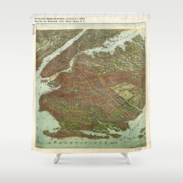 Aerial View of Brooklyn, New York (1908) Shower Curtain