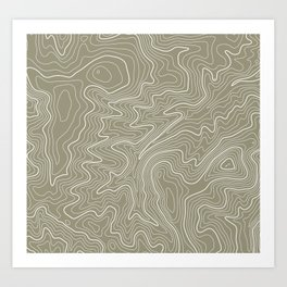 Brown Topo Line Design Art Print