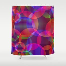 Abstract soap made from cosmic transparent purple circles and purple bubbles on a dark background. Shower Curtain