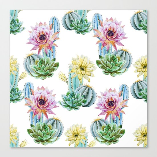Cactus Pattern 06 Canvas Print