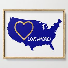 Love America USA Map Silhouette Serving Tray