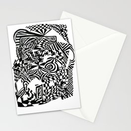 Face, Black/White Abstract (ink drawing) Stationery Cards