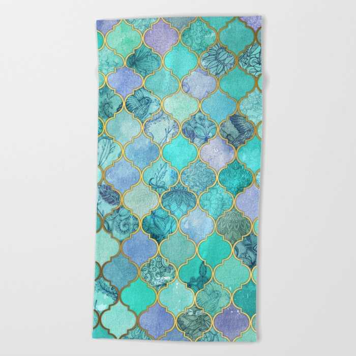 Cool Jade Icy Mint Decorative Moroccan Tile Pattern Beach Towel
