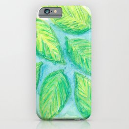 Natalie's Falling Green Leaf iPhone Case