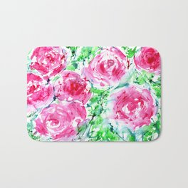Blooming bouquet #7 || watercolor Bath Mat