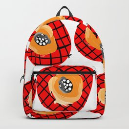 Irregular Red Circles with Black Cross Hatch Yellow Orange and Black Center. Backpack