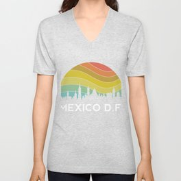 Mexico DF Retro Mexican Vintage Hispanic Latino Ciudad Architecture Unisex V-Neck