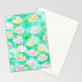 Water Lilies in a pond Stationery Cards