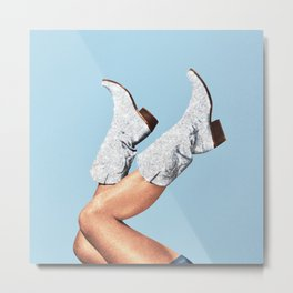 These Boots - Glitter Blue Metal Print