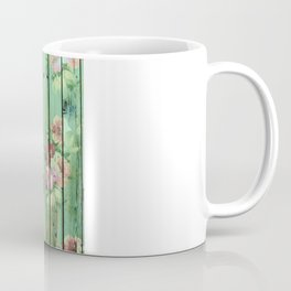 Summer Lover With Flowers | Vintage Floral pattern Teal Striped Wood Coffee Mug