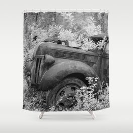 Rusting Pickup with Tree Grown in Cab Black and White Infrared Shower Curtain