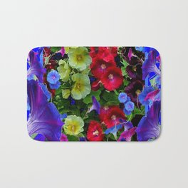 HOLLYHOCKS & MORNING GLORIES COTTAGE BLUE ART Bath Mat