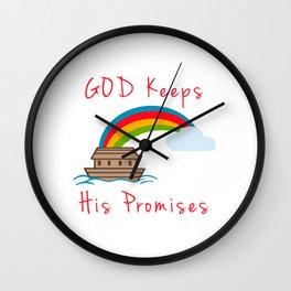 Cute Noahs Ark God Keeps His Promises Rainbow Wall Clock