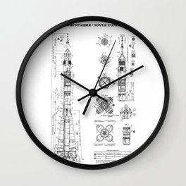 Soyuz Blueprint in High Resolution (white) Wall Clock