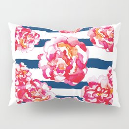 Red Flowers, Flowers, Blue Stripes, Flower Art Pillow Sham