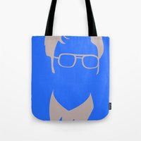 dwight Tote Bags featuring Dwight Schrute by Stacia Elizabeth